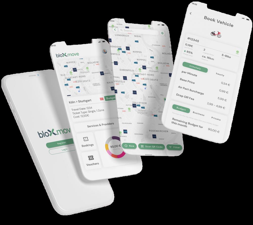 Benutzeroberfläche der bloXmove-App